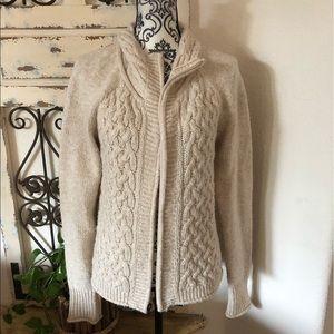 REI wool blend cream zip cardigan